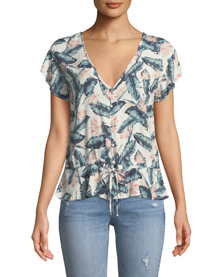 Rails Bretton Floral Palm Button-Front Top