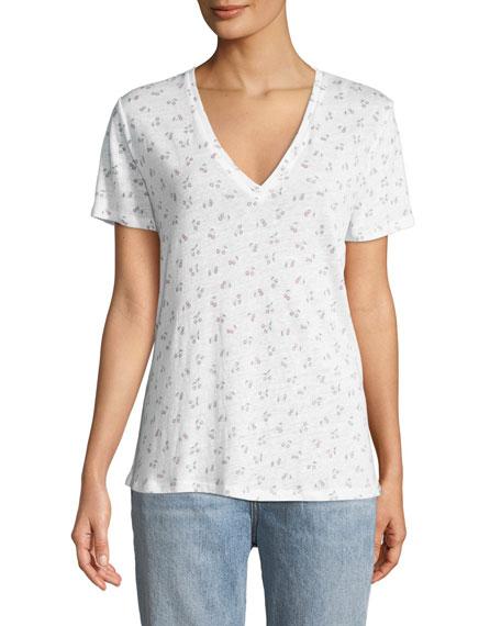 Rails Cara Cherry-Print Linen Short-Sleeve Tee