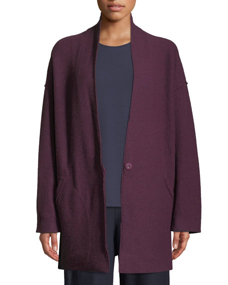 Eileen Fisher Lightweight Boiled Wool Kimono Jacket, Petite