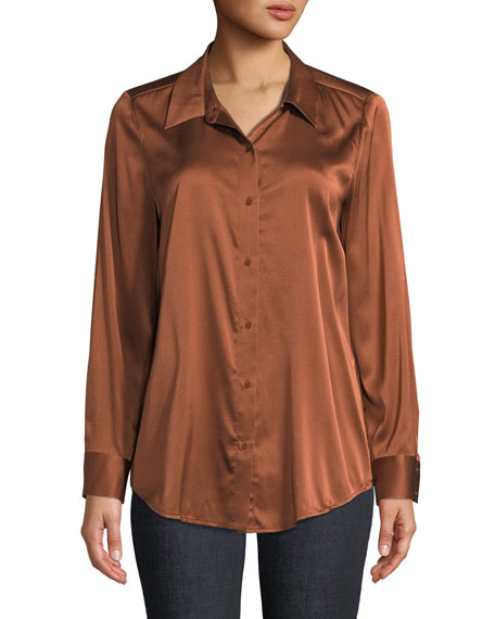 Long-Sleeve Silk Charmeuse Button-Front Shirt, Petite