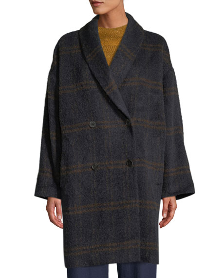 Eileen Fisher Windowpane Luxe Alpaca/Wool Car Coat and
