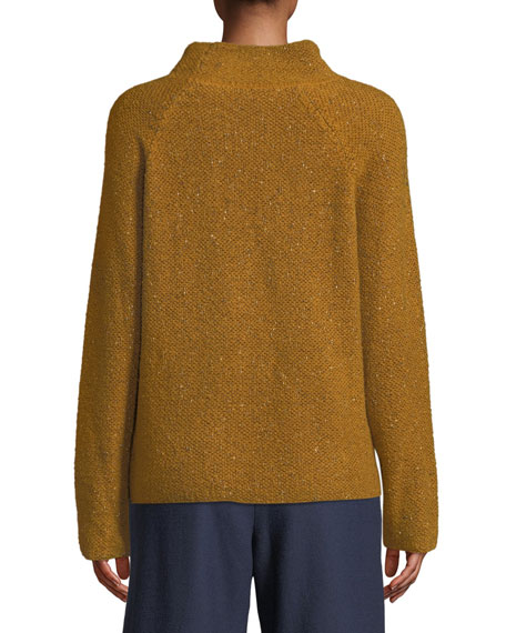 Tweedy Funnel-Neck Sweater, Petite