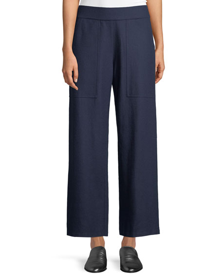 Boiled Wool Wide-Leg Ankle Pants, Plus Size