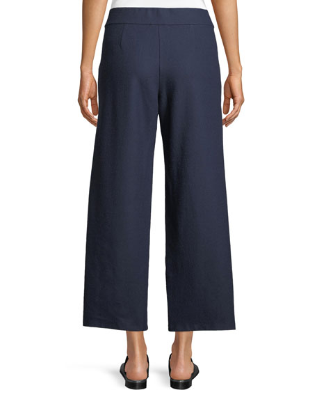 Boiled Wool Wide-Leg Ankle Pants, Petite
