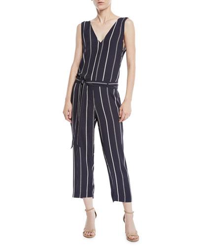 Hallie Striped Cropped Belted V-Neck Jumpsuit