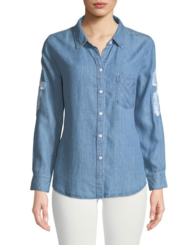 Ingrid Embroidered Button-Front Linen Top
