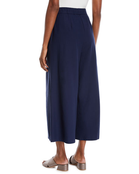 Lightweight Wide-Leg Ankle Pants, Petite