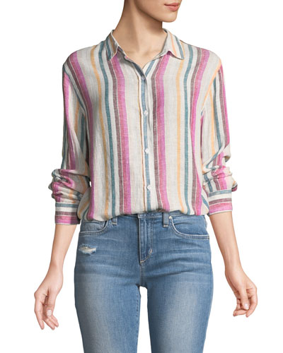 Sydney Striped Button-Front Linen Top