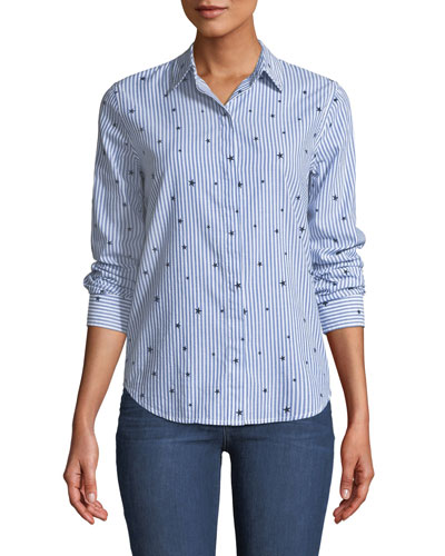 Taylor Striped Star-Print Button-Front Top