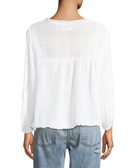 Miffy Raw-Edge Cotton Peasant Top