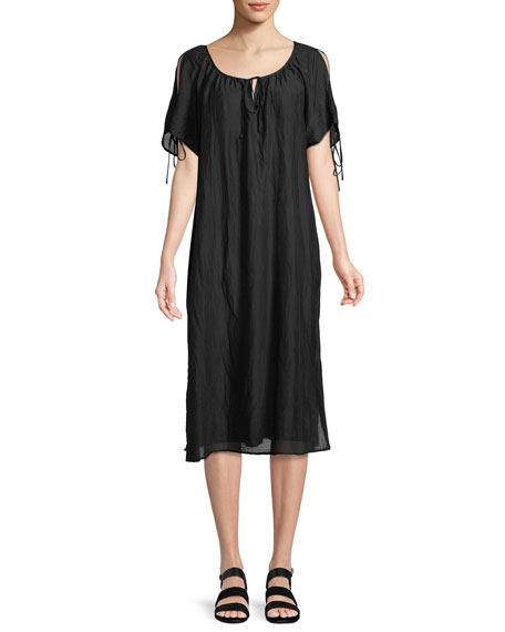 Magson Cotton-Silk Tie-Sleeve Midi Dress