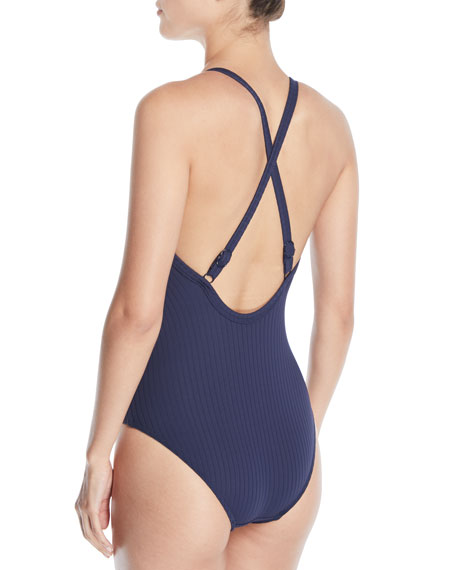 Inka Ribbed Lace-Up One-Piece Swimsuit