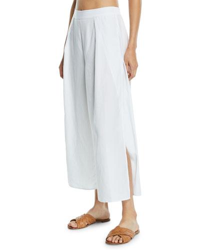Linen-Blend Split-Leg Coverup Pants