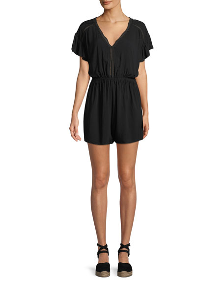 Seafolly Ladder-Trim Short-Sleeve Coverup Romper