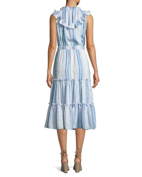 Aleja Striped Ruffle Tassel Midi Dress