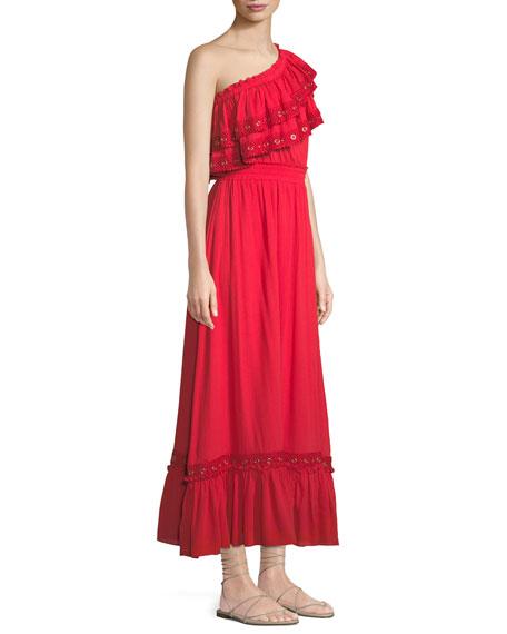 Safa One-Shoulder Ruffle Maxi Dress
