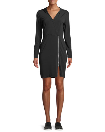 Fresia Hooded Jersey Dress with Adjustable Zipper