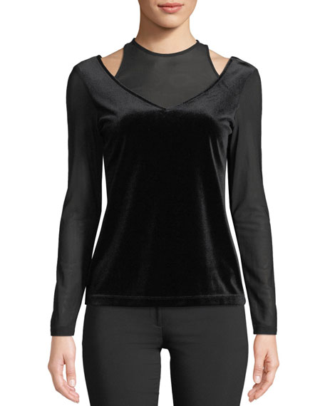 Anatomie Hazel Velvet Open-Detail Long-Sleeve Top and Matching