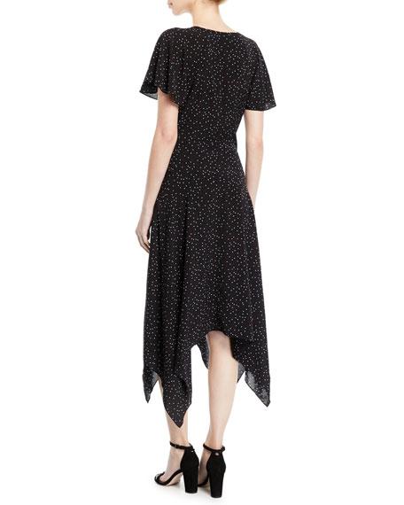 Tamyra Dot-Print Handkerchief Midi Dress
