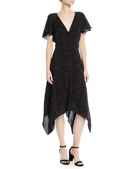 Joie Tamyra Dot-Print Handkerchief Midi Dress