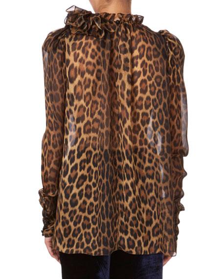 Canazei Leopard-Print Ruffle Blouse