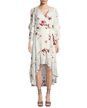 f32ca4308e6 Joie Anawrette Floral Ruffle High-Low Wrap Dress