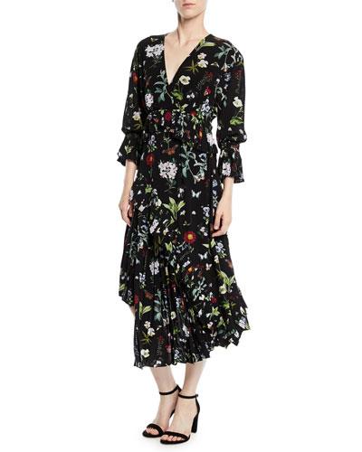 Analena Pleated Floral V-Neck Midi Dress