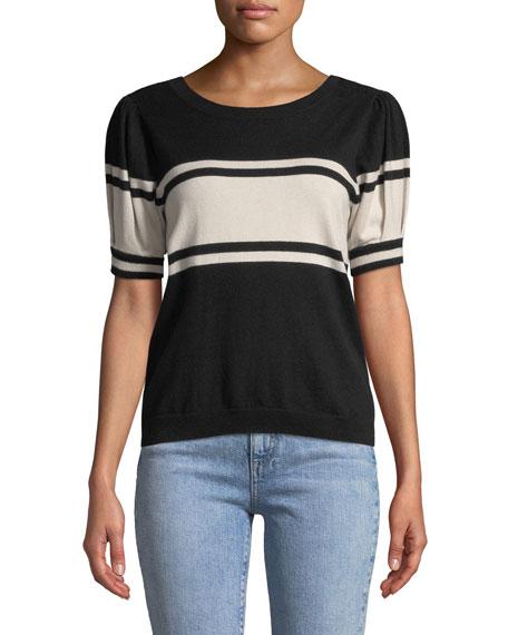 Rolana Striped Short-Sleeve Sweater
