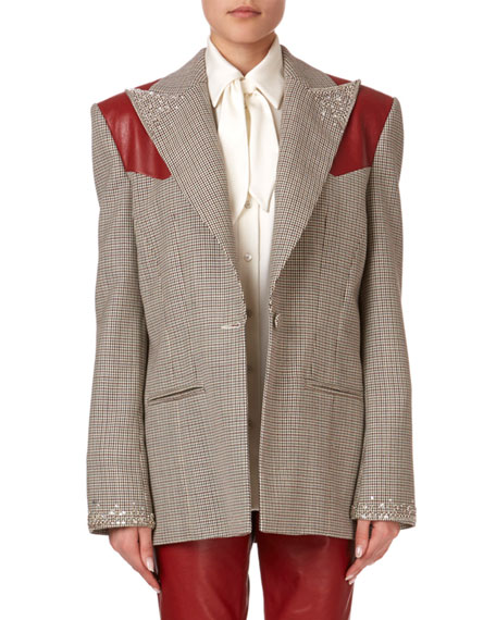 Arkansas Beaded Plaid Wool Blazer w/ Leather Shoulders