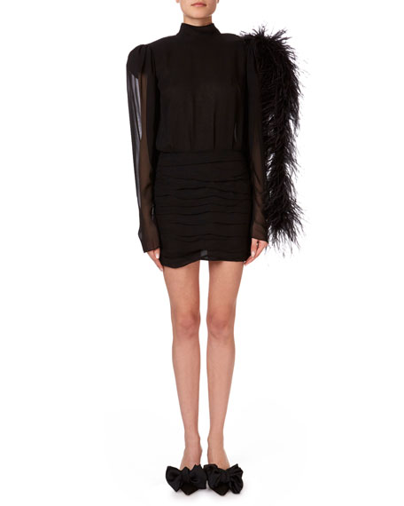 Magda Butrym Dubai Feather-Shoulder Open-Back Mini Dress