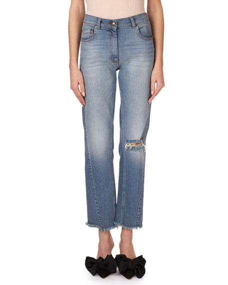 Nelsonville Frayed Boyfriend Ankle Jeans