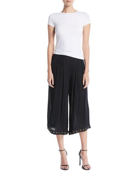 Kova Cropped Pleated Wide-Leg Pants