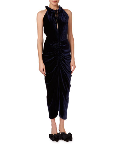 Hilo Ruched Velvet Halter Midi Dress