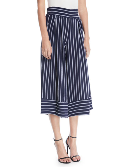 Misa NIKOLA STRIPED WIDE-LEG CROPPED PANTS