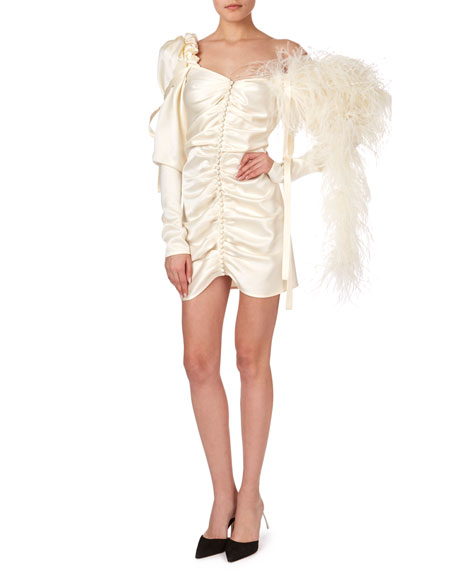 Tefe Ruched One-Shoulder Cocktail Dress w/ Feathers