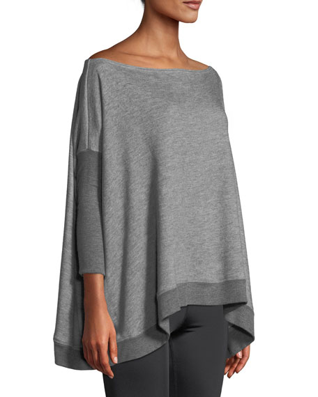 Convertible 3/4-Sleeve Draped Sweater