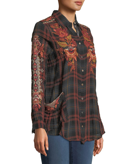 Warner Painters Smocked Embroidered Plaid Button-Down Shirt, Plus Size