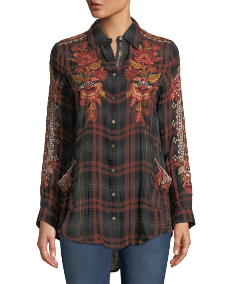 Johnny Was Warner Painters Smocked Embroidered Plaid Button-Down