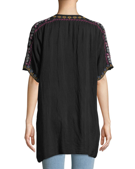 Johnny Was Plus Size Alyssa Floral-Embroidered Long Georgette Tunic