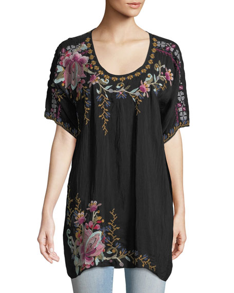 Alyssa Floral-Embroidered Long Georgette Tunic, Plus Size