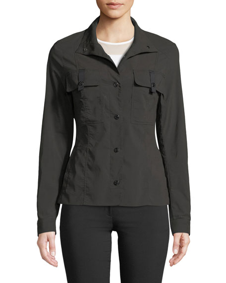 Alexis Grosgrain-Trim Snap-Front Jacket