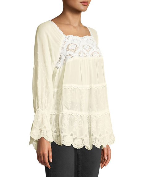 Alora Lace-Trim Tiered Blouse, Plus Size