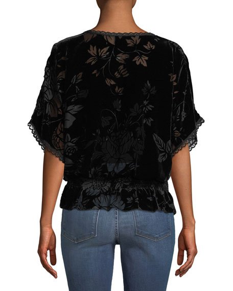 Jade Smocked Burnout Velvet Top
