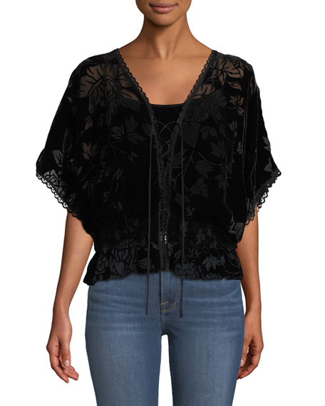 Johnny Was Jade Smocked Burnout Velvet Top