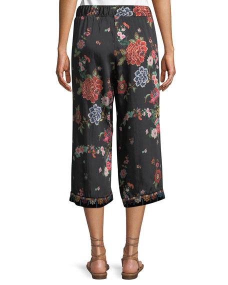 Velvet Mix Culotte Pants, Plus Size