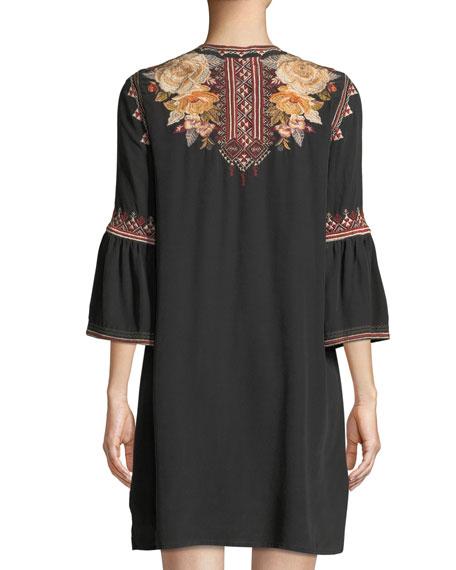 Artemis Flare-Sleeve Tunic Dress