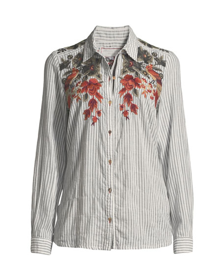 Ferris Floral-Embroidered Striped Shirt
