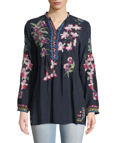 Tropical Garden Button-Front Tunic
