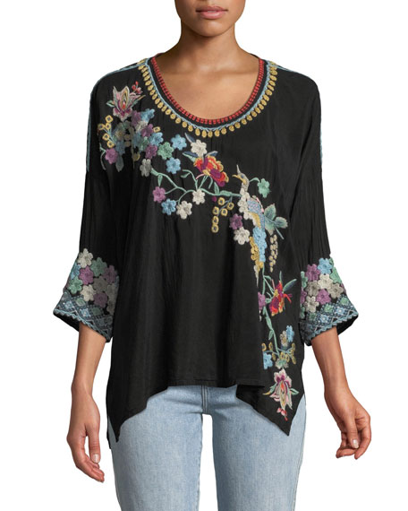 Johnny Was Merielle 3/4-Sleeve Floral-Embroidered Top