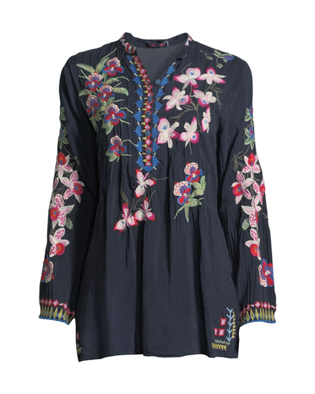 Tropical Garden Button-Front Tunic, Plus Size